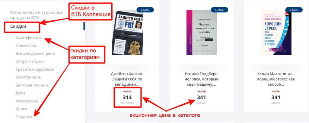Скидки и акции в каталоге В личном кабинете ВТБ Бонус Коллекция
